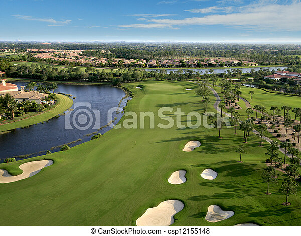 Florida Golf Course Flyover Aerial - csp12155148