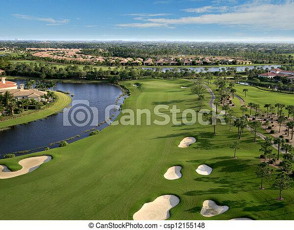 航空写真, ゴルフ, フロリダ, 儀礼飛行, コース - csp12155148