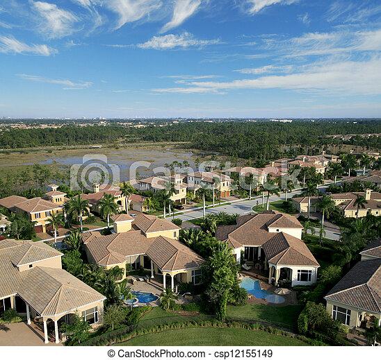 航空写真, 近所, フロリダ, 儀礼飛行 - csp12155149