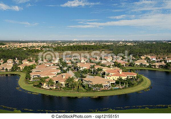 航空写真, 近所, フロリダ, 儀礼飛行 - csp12155151