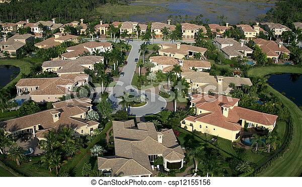航空写真, 近所, フロリダ, 儀礼飛行 - csp12155156