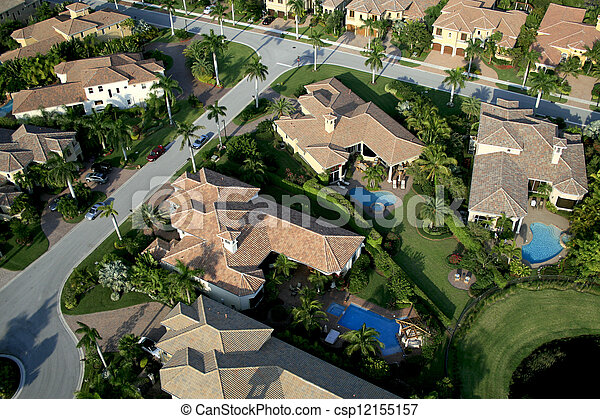 Florida Neighborhood Flyover Aerial - csp12155157