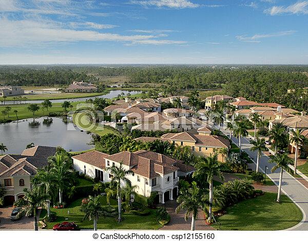 航空写真, 近所, フロリダ, 儀礼飛行 - csp12155160
