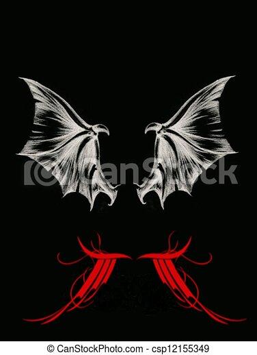 Dessin de ailes chauve souris et dragon ailes - Aile de dragon dessin ...