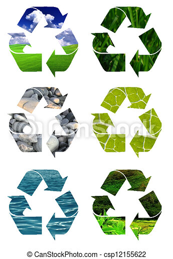 Clip Art of Recycling logos Clip Art - recycle symbol cut out of ...