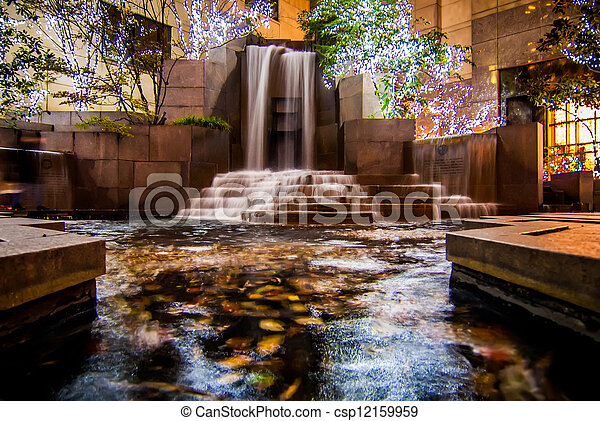 waterfall in downtown charlotte - csp12159959