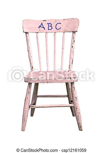 ABC on antique childrens chair - csp12161059