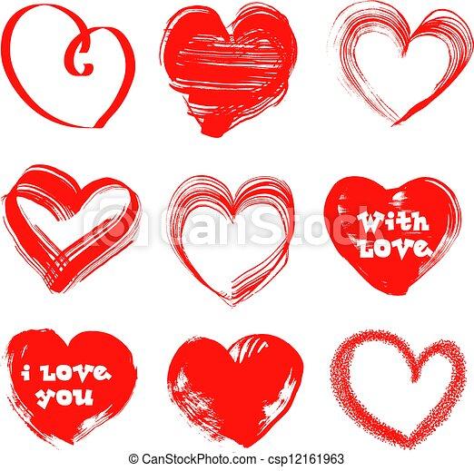 Valentines Day handdrawn hearts - csp12161963