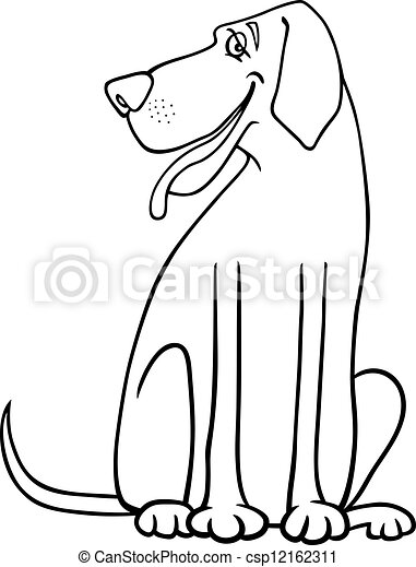 Vector Clip Art of great dane dog cartoon for coloring - Black and ...