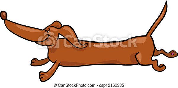 running dachshund dog cartoon illustration - csp12162335