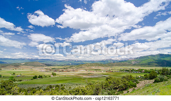 Rural Farming Valley in the Foothills of the San Juan Mountains in Colorado - csp12163771
