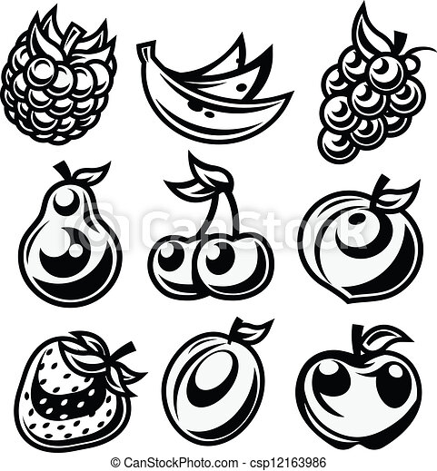 Black and White Stylized Fruit Icon - csp12163986