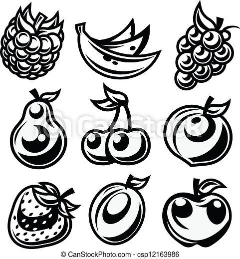 Black and White Stylized Fruit Icon - csp12163986