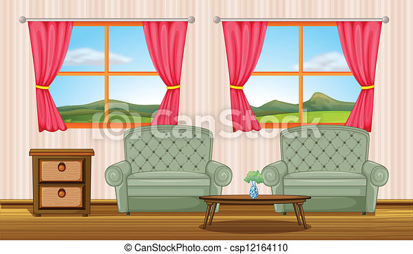 Vector Clip Art Of Room Interior Illustration Of A