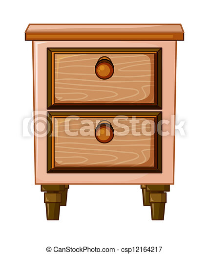 Vector Clip Art Of A Table With Drawer Illustration Of A