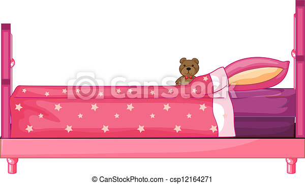 Vectors Illustration of Pink bed - Illustration of a pink bed on a ...
