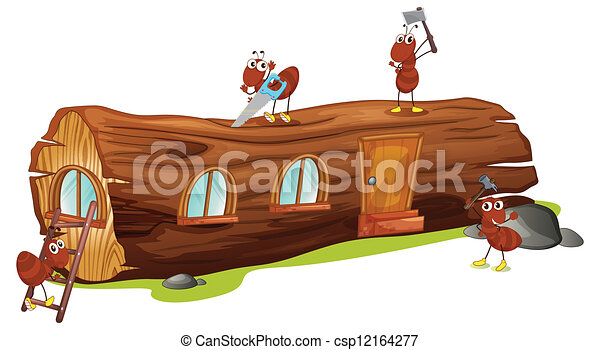 Ilustraciones vectoriales de hormigas madera casa ilustraci n hormigas madera - Casa de hormigas ...