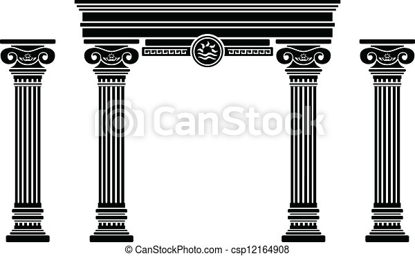 fantasy arch and columns. stencil - csp12164908