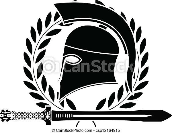 fantasy hellenic sword and helmet - csp12164915