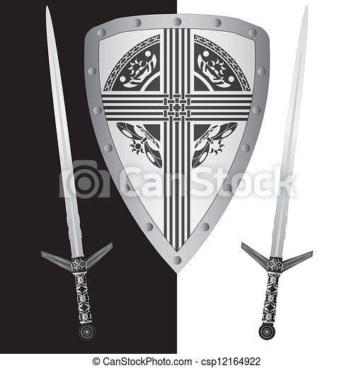 fantasy shield and swords - csp12164922