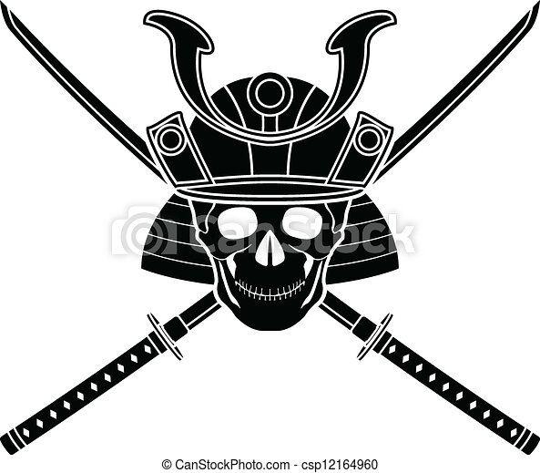 japanese helmet and two sword - csp12164960