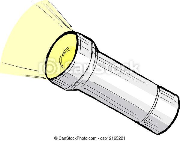 Taschenlampe clipart  Vektor Illustration von taschenlampe, metallisch - hand ...