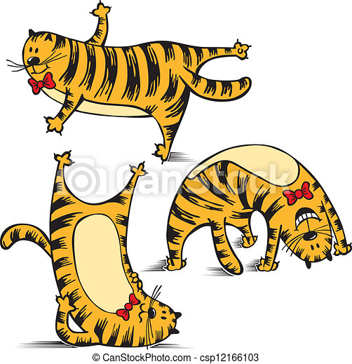 Vector Clipart of sports funny cat makes exercise ...