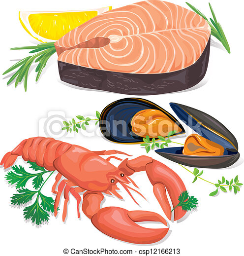 Vector Clip Art Of Seafood Csp12166213 Search Clipart