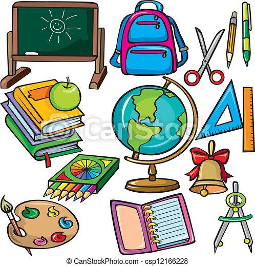 Illustrazioni vettoriali di scuola accessori icone for Scuola clipart