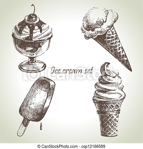 Ice cream set. Hand drawn illustrations - csp12166589