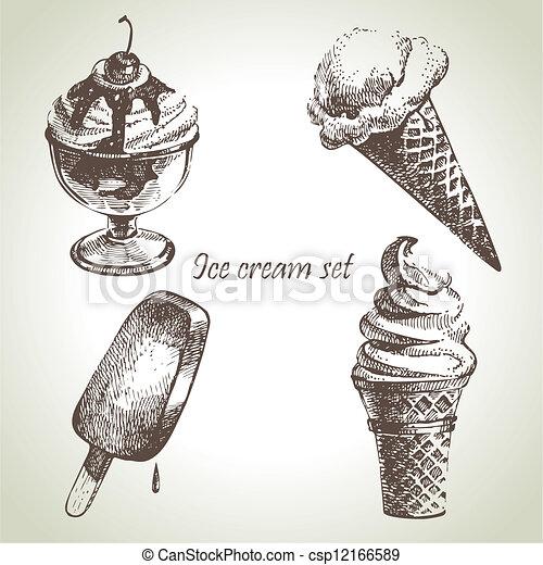 Ice cream set. Hand drawn illustrations - csp12166589
