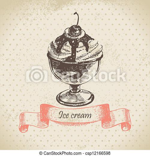 Ice cream, hand drawn illustration - csp12166598
