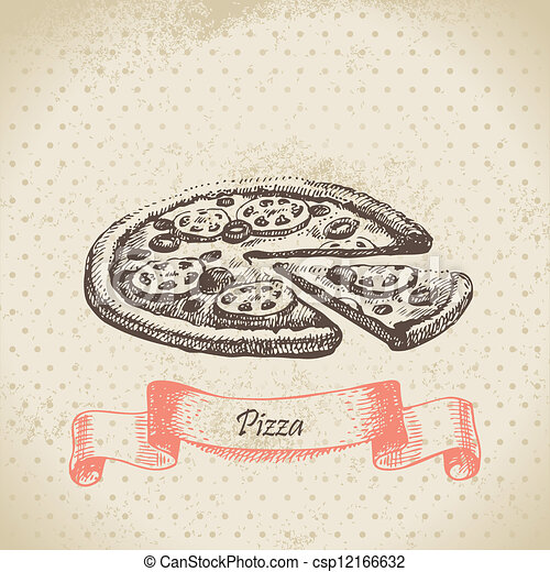 Pizza. Hand drawn illustration - csp12166632