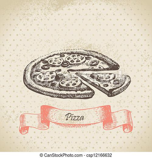 Pizza. Hand drawn illustration - csp12166632