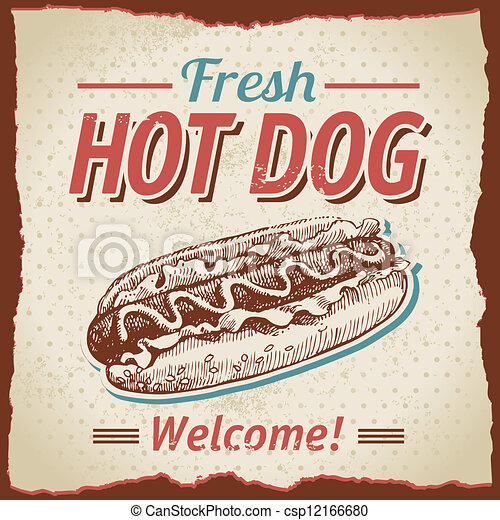 Vintage hot dogs background - csp12166680