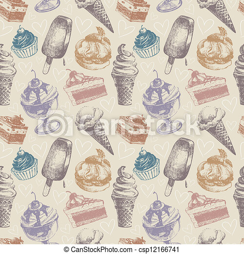 Seamless pattern with ice cream and cakes - csp12166741