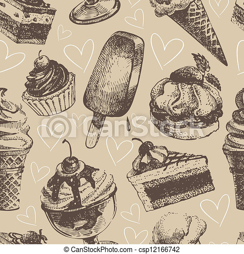 Seamless pattern with ice cream and cakes - csp12166742