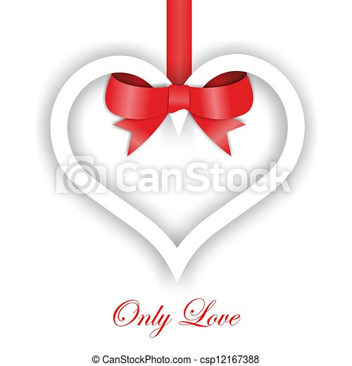 Paper Heart ornament on white background. Valentines day card - csp12167388
