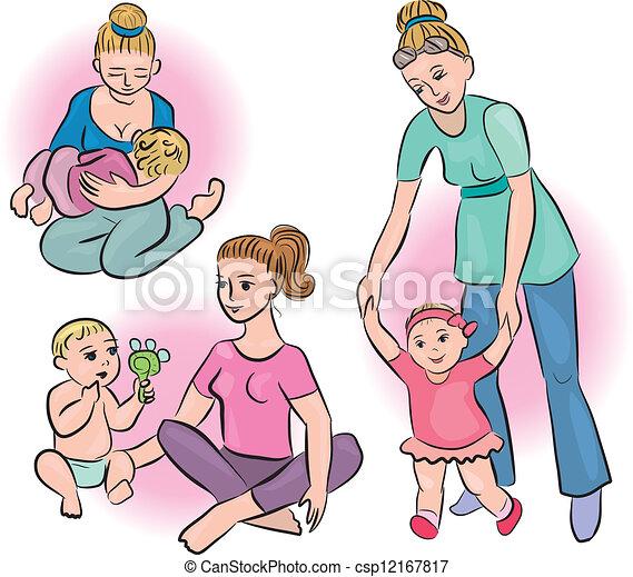 Vector Clip Art de su, vidas, bebes, diario, madres - madres, y ...