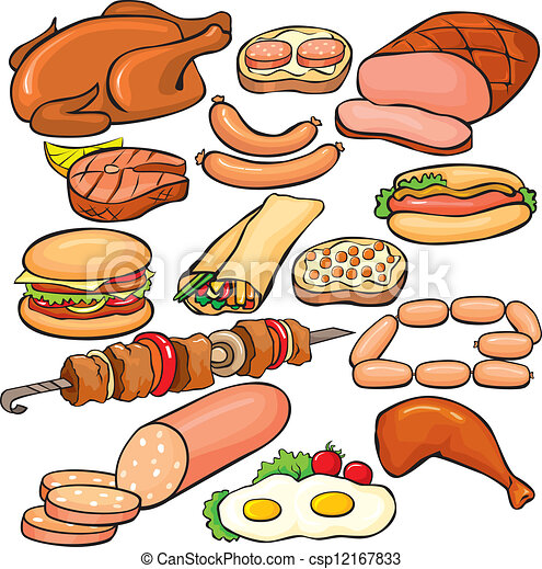 Vectors of Meat products icon set csp12167833 - Search ...