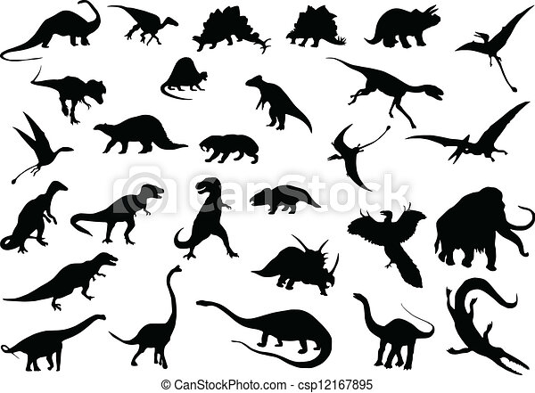 EPS vectores de vector, dinosaurios - vector, Siluetas, dinosaurios ...