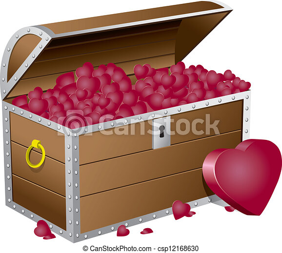 Valentine's day chest wiht hearts - csp12168630
