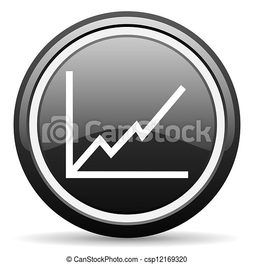 chart black glossy icon on white background - csp12169320
