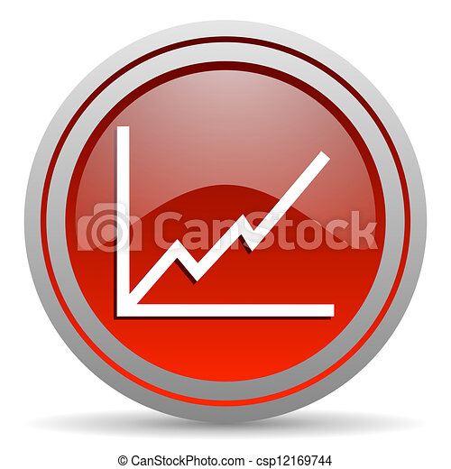 chart red glossy icon on white background - csp12169744