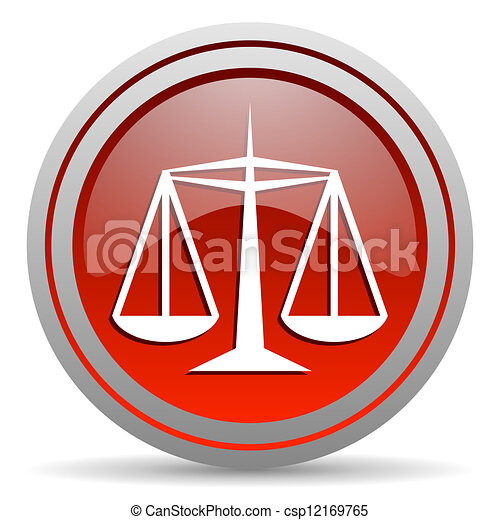 justice red glossy icon on white background - csp12169765