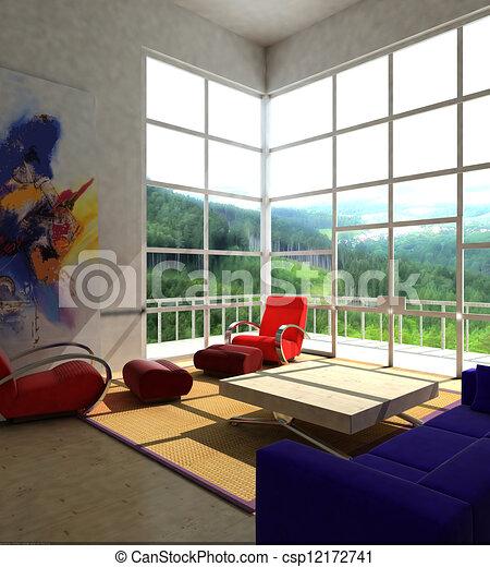 Tekening van interieur modieus huiskamer vertolking for Interieur huiskamer
