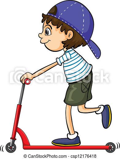 A boy playing push bicycle - csp12176418