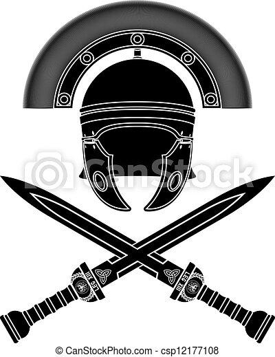Vector Clipart of roman helmet and swords. third variant ...