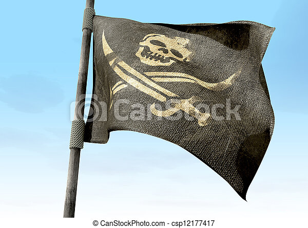 Jolly Roger Pirate Flag Closeup - csp12177417