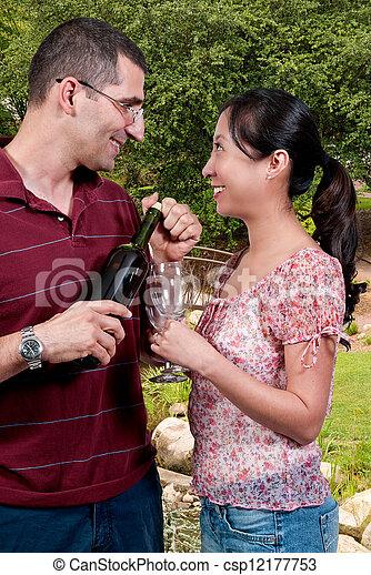 Couple with Wine - csp12177753